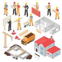 isometrische bouwers ingenieur architect set vector