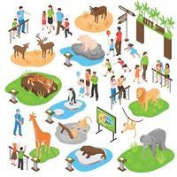isometrische dierentuin grote reeks vector