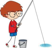 een doodle jongen vissen stripfiguur geïsoleerd vector