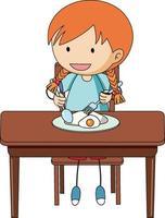 een meisje aan het ontbijten doodle stripfiguur geïsoleerd