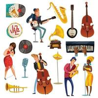 jazzmuziek cartoon set
