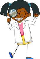 kleine wetenschapper doodle stripfiguur geïsoleerd vector