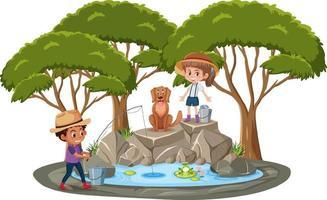geïsoleerde scène met kinderen die bij de vijver vissen vector