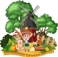 meisje in platteland huis landschap vector