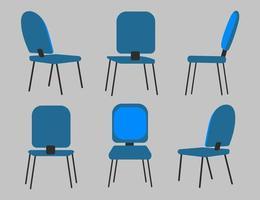 stoel in verschillende posities. stoelinterieur in verschillende situaties. vector