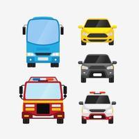 auto's vector set vooraanzicht persoonlijk en openbaar vervoer vectorillustratie