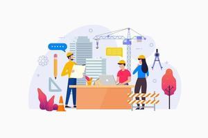 architectenbureau toont architect en tekenaar schaven voor het bouwen van grote kantoorruimte vector