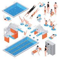 isometrische zwembad set vector