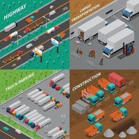 vrachtwagen voertuig isometrische 2x2 vector