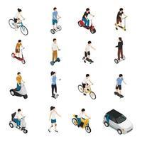 persoonlijk eco groen transport isometrische mensen vector