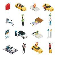 carsharing carpooling ridesharing isometrische pictogrammen vector