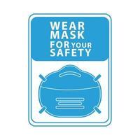 Draag een gezichtsmasker voor uw blauwe vierkante veiligheidslabel vector