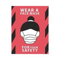 draag gezichtsmasker voor uw veiligheid rood label vector