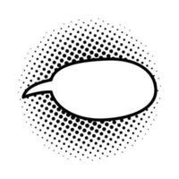 zwart-wit en gestippelde toespraak bubble pictogram