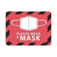 draag masker rood vierkant label vector