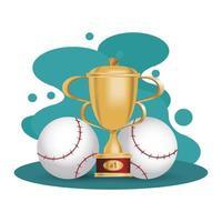 honkballen met trofee beker vector