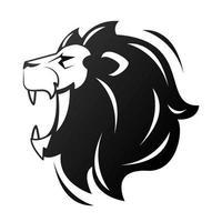 hoofd van leeuw in profiel, zwart-wit pictogram vector