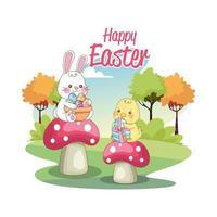gelukkige seizoengebonden kaart van Pasen met kuiken en konijn op paddestoelen vector