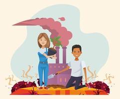 paar milieuactivisten met vervuilende fabrieken vector