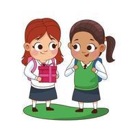 schattige kleine meisjes met cadeau-avatars-personages vector