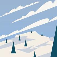 pijnbomen op een achtergrond van sneeuw vector