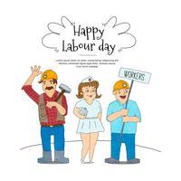 Achtergrond met Drie Arbeiders Dag van de Arbeid vector