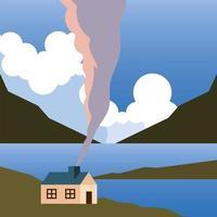landschap met huis op de berg met meer en wolken achtergrond vector