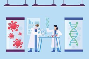 onderzoeksontwerp voor coronavirusvaccins met chemici vector