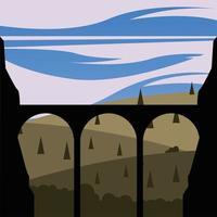 brug silhouet voor pijnbomen achtergrond vector