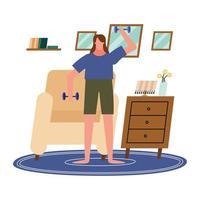 vrouw tillen gewichten thuis vector ontwerp