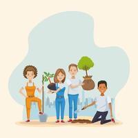 paar milieuactivisten die bomenkarakters planten vector