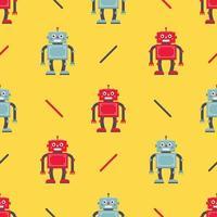 schattig robotpatroon op een gele achtergrond. kinderkarakter voor de stof en verpakking van kinderspeelgoed. vector illustratie