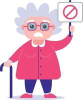 grootmoeder met een poster tegen. slechtgehumeurd. vrouw karakter vectorillustratie. vector