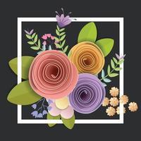 vector- en illustratieontwerp. ambachtelijke papieren bloemen, lente, herfst, bruiloft en valentijn feestelijk bloemenboeket, heldere herfstkleuren, natuur clipart geïsoleerd op een witte achtergrond, decoratieve versiering. vector