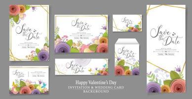 set van vector en illustratie uitnodiging of bruiloft kaart ontwerp. ambachtelijke papieren bloemen, lente, herfst, bruiloft en valentijn feestelijk bloemenboeket, heldere herfstkleuren.