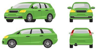 minivan in verschillende hoeken. vector
