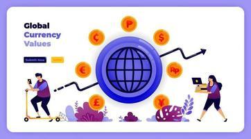 wereldwijde uitwisselingen van valutatransacties in financiële banksystemen. vectorillustratie voor bestemmingspagina, banner, website, web, poster, mobiele apps, ui ux, startpagina, sociale media, flyer, brochure vector