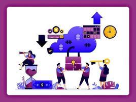 cloud datacenter illustratie. cyberbeveiligingssysteemtechnologie voor opslag van big data-databases en toegang tot gebruikersaccounts. ontwerp kan worden gebruikt voor website, web, bestemmingspagina, banner, mobiele apps, ui ux, poster vector