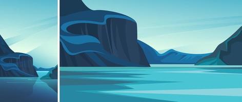 fjord met blauw water vector