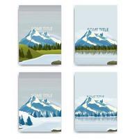 set van vector landschappen met besneeuwde bergen en meren. omvat ontwerp met winter- en zomerlandschappen