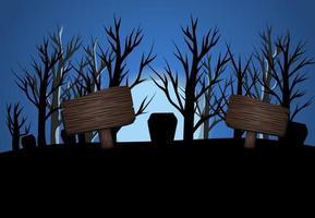 Halloween donkerblauw drie maanlicht vectorillustratie, banner flyer concept, prettige vakantie donkere pompoenen achtergrond, houten tafel tekstsjabloon