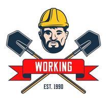 retro embleem van een mijnwerker in een helm. schouderblad met crosshair silhouet op witte achtergrond. vector illustratie