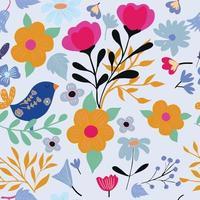 schattige vogel in wilde bloemen naadloze patroon vector