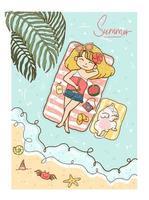 schattig meisje geel haar in bikini en spijkerbroek zonnebaden op zee met witte pluizige kitten kat in de zomer vector