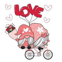 twee valentijnskaart romantisch kabouterpaar op roze liefde fiets illustraties, gelukkige liefde cartoon vector