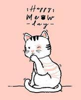 schattig doodle gelukkige verjaardagskaart speelse pluizige kiitty witte en roze kat likt poot, poot schoonmaken, overzicht hand tekenen platte vectorillustratie vector