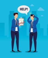 beurscrash met zakenlieden bezorgd vector