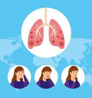afbeeldingen van vrouwen met covid 19 geïnfecteerde longen vector
