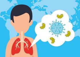 man met de ziekte van Covid 19 en micro-organismen