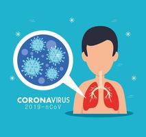 man met covid 19 ziekte icoon